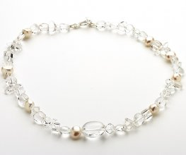 White fresh water pearl and Clear Quartz Necklace