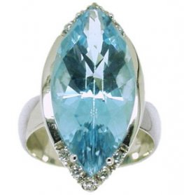 Marquise Blue Topaz and Diamond Dress Ring. 18 carat White Gold.