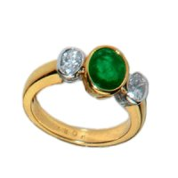 Timeless Oval Emerald & diamond Three Stone Ring.
