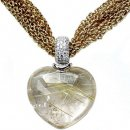 Designer Heart shape Rutilated Quartz and Diamond pendant 18ct