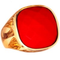 A Designer 18ct Yellow Gold Coral Cocktail Ring.