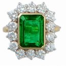 Breathtaking Emerald & Diamond Cluster Ring. 18ct Gold.
