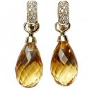 18ct Gold Briolette Citrine and Diamond Drop Earrings.