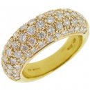 Yellow Gold Pave Diamond Ring. 750-18 Karat.