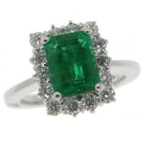 Emerald Cut Emerald and Diamond Cluster Ring. 18ct White Gold.