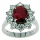 A Diamond and Ruby Cluster ring. 18ct White Gold.