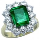 Large Emerald cut Emerald and Diamond Ring. 18 carat Gold.