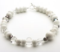 Fresh water Pearl White Agate & Clear Quartz Necklace