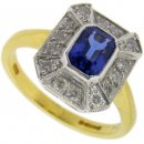 Art Deco Style Sapphire and Diamond Cluster Ring 18KT