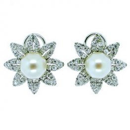 Stunning Pair of Pearl and Diamond Cluster Earrings. 18k Gold.