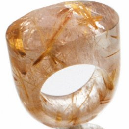 Oval Briolette Faceted Rutilated Quartz Ring