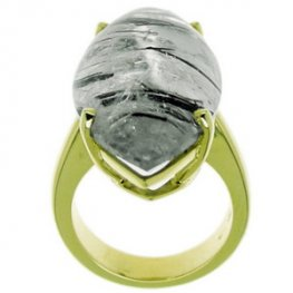 A Chic and Stylish Tourmalated Quartz Ring. Yellow Gold. 18kt.